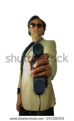 blurred man holding a receiver over white background - stock photo
