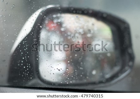 Blurred mirror image from car while rain is raining.