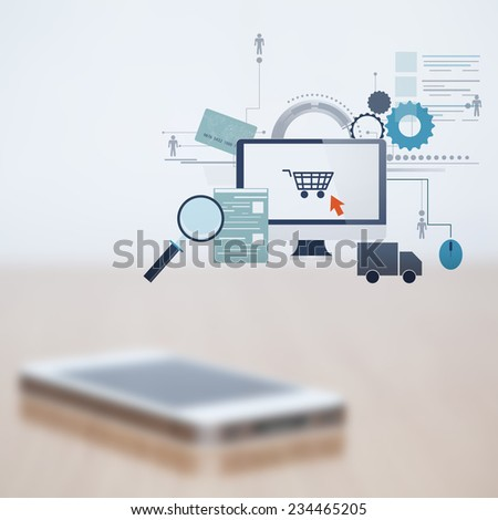 Blurred mobile phone  and added graphic online shopping icons - stock photo