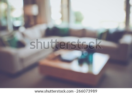 Blurred Modern Living Room with Retro Instagram Style Filter - stock photo