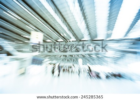 Blurred motion background : Traveler at airport terminal Check-in departure blur background with bokeh light - stock photo