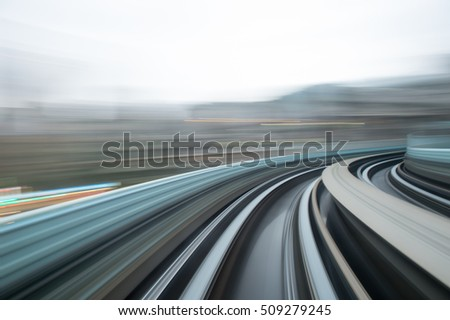 Blurred motion moving high speed train inside tunnel, taipei taiwan