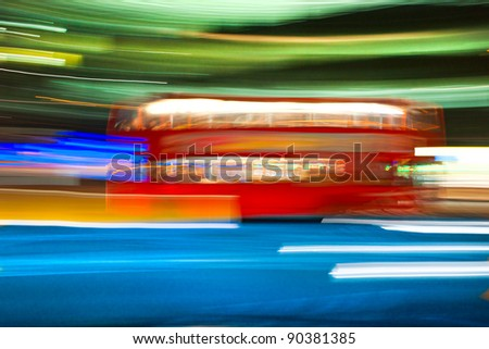 Blurred motion picture of a double-decker bus, London, Uk. - stock photo