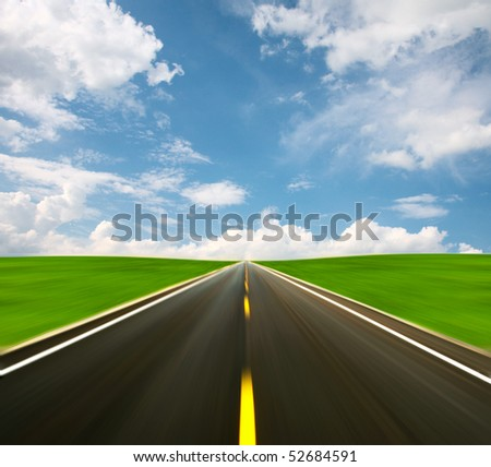 Blurred motion road - stock photo