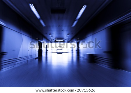 Blurred motion to the light - stock photo