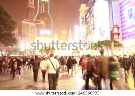 blurred  Nanjing Road  Shanghai, China - stock photo