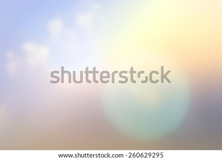 Blurred nature abstract background of colorful rainbow sky nature and urban cbd cityscape with sun light flare bokeh: International preservation of ozone layer action concept: world environment day - stock photo