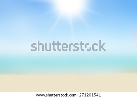 Blurred nature background. Sandy beach backdrop with turquoise water and bright sun light. Summer, Holidays, Vacation, Travel concept. - stock photo