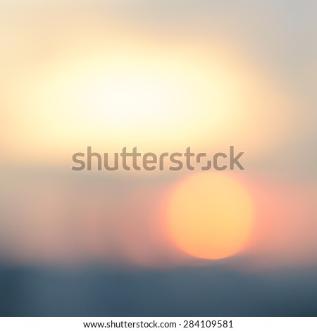 Blurred nature sunset background of Bangkok cityscape at dawn with bokeh    - stock photo