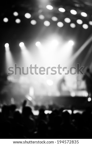 Blurred night concert , Light night concert , Black and white Night concert - stock photo
