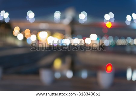 Blurred of Abstract image of Long exposure night traffic Street Night light - stock photo