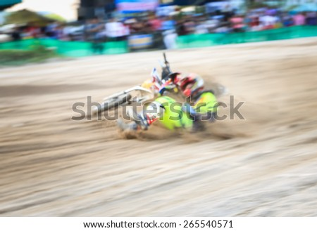 Blurred of crashes during motocross competition
