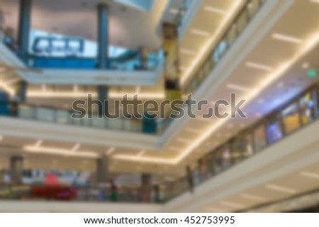 Blurred of Department store or shopping mall is a popular destination for walks and relaxing family in holiday.