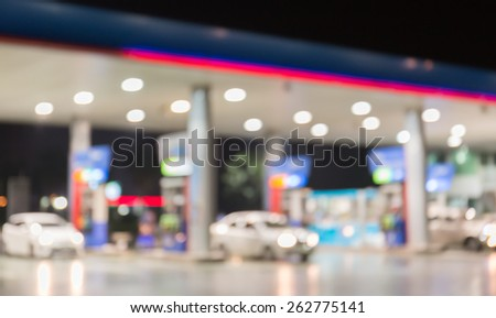 Blurred of Petrol station - stock photo