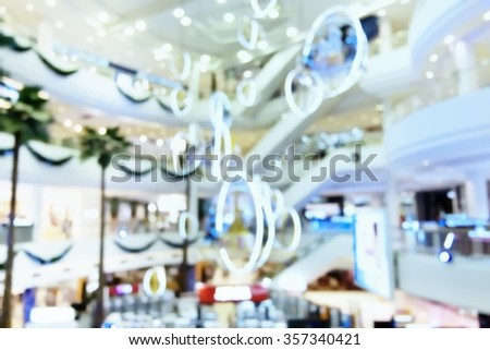 Blurred of shopping mall with lighting