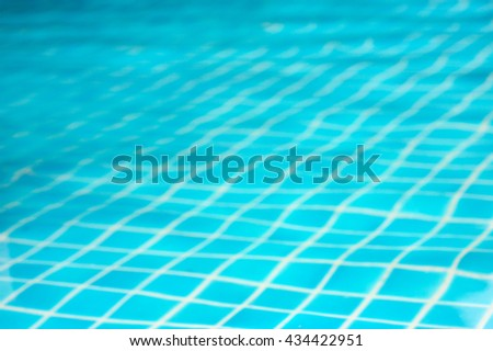 Blurred of swimming pool, Ripple in swimming pool, Blurred soft blue background - stock photo