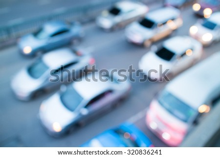 blurred of the traffic jam background - stock photo