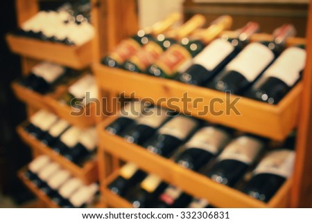 Blurred of wine bottles