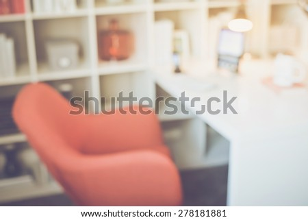Blurred Office with Tablet applying Retro Instagram Style Filter - stock photo