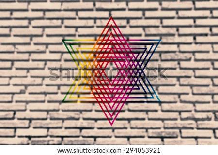 Blurred old brick wall paint color and rainbow star for texture background and backdrop. - stock photo