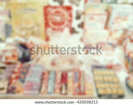 Blurred pastry shop in the mall style vintage tone. - stock photo
