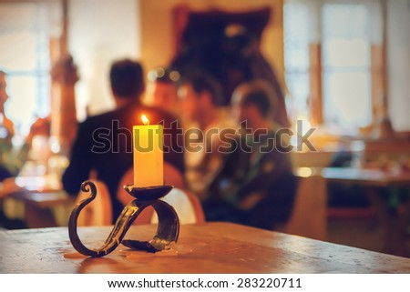 Blurred people at restaurant - stock photo