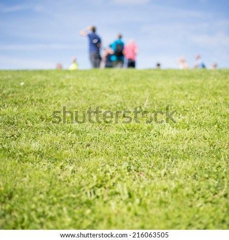 blurred people on grassy hill in background  - stock photo