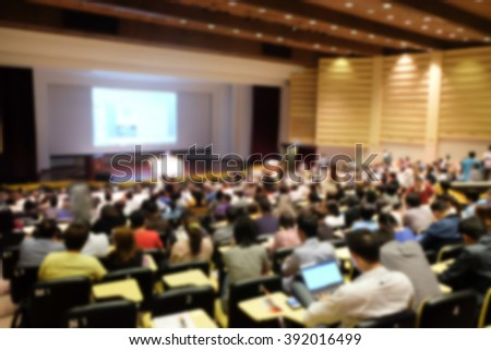 blurred people sitting for seminar or meeting about business program backgrounds:blur collaboration business discussion and listening in convention hall:blurred inside meeting hall backdrop concept. - stock photo