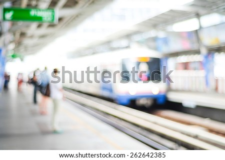 Blurred people waiting for subway at station, transportation background - stock photo