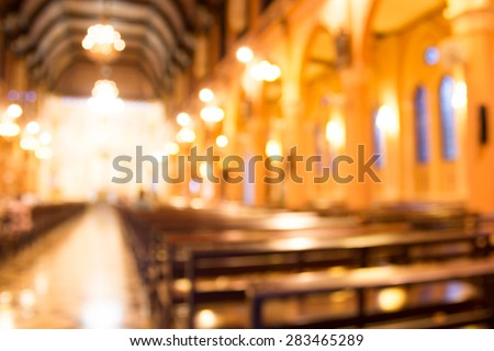 blurred photo of church interior for abstract background - stock photo