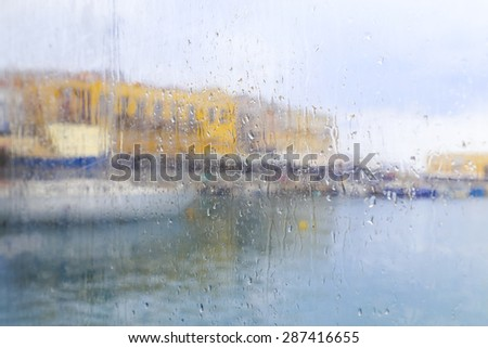 Blurred picture of a picturesque harbor  - stock photo