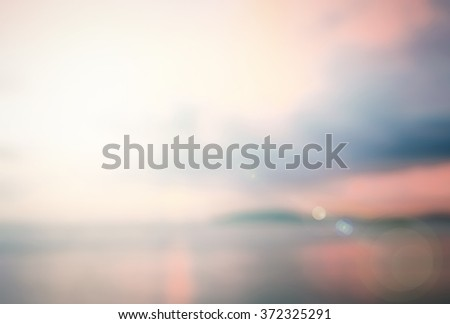 Blurred Pink beach. Blue White Terrace View Sun Sand Sea Surf Rest Nature Resort Ray Glow Bokeh Flare Travel Orange Shine Soft Cloud Bright Wave Relax Blurry Sunny Horizon Vintage Texture Red concept. - stock photo