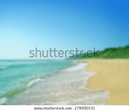 Blurred seascape, sunny beach for background - stock photo
