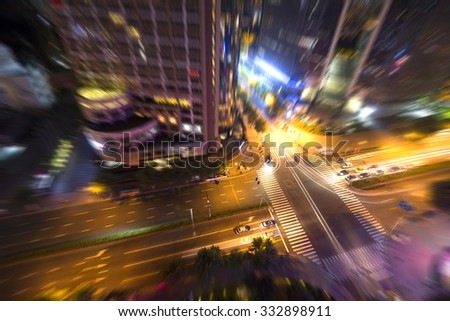 Blurred Shanghai Urban Transport - stock photo