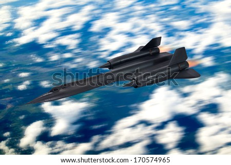 Blurred sky/land background - SR-71 'Blackbird' 20th century advanced, long-range, Mach 3+ strategic reconnaissance aircraft from the USA. (Artists Impression/recreation photo)
