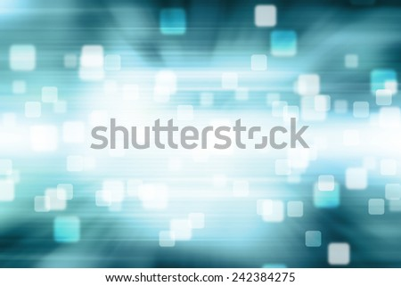 Blurred Squares bokeh on blue abstract background - stock photo