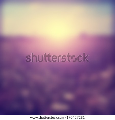 Blurred summer field at sunset in vintage style. - stock photo