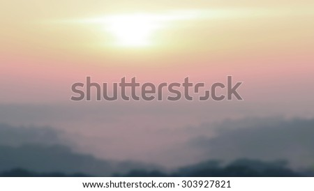 Blurred Sunrise Background of Early Morning Light with Mountain Landscape.