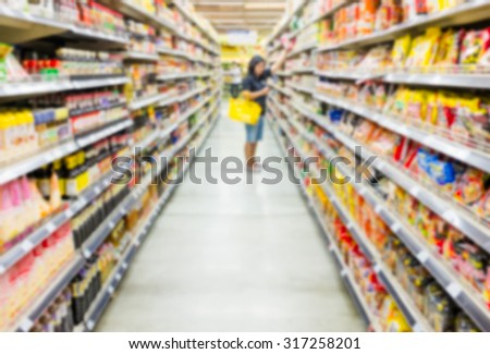 Blurred supermarket and woman shopping product. Suitable use for marketing or lifestyle concept background.