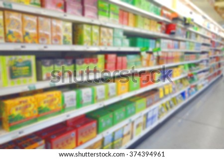 Blurred tea section at a supermarket in Canada