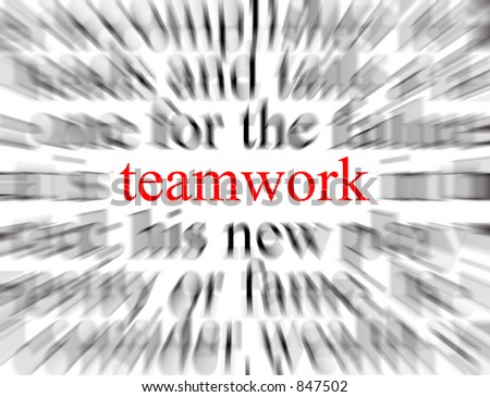 Blurred text with a focus on teamwork - stock photo