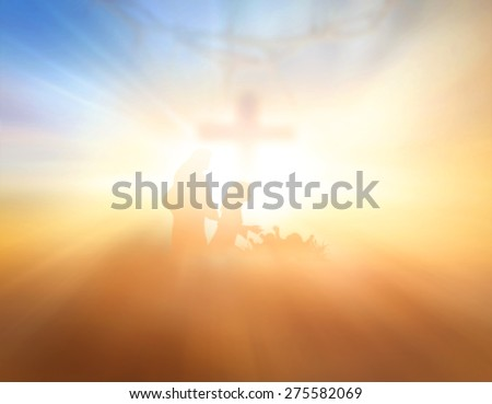 Blurred the cross and Nativity scene story, Merry Christmas Card background, Glory to God in the highest, and on earth peace among those with whom he is pleased, Bethlehem, Jesus Christ Born concept. - stock photo