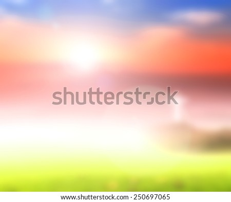 Blurred the cross on sunset background. - stock photo
