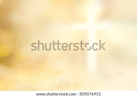 Blurred the white cross over beautiful bokeh sunset or sunrise background. Thanksgiving, Forgiveness, Mercy, Humble, Repentance, Reconcile, Surrender, Redeemer, Redemption, year 2016, Lent concept. - stock photo
