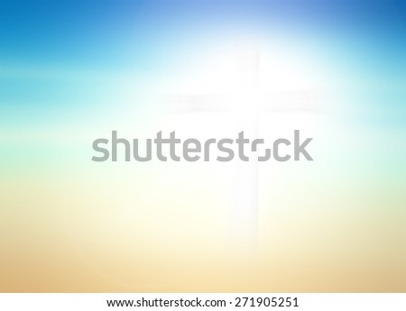 Blurred the white cross over sunset. - stock photo