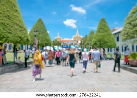 Blurred tourist visit to Wat Phra keaw in Bangkok,Thailand - stock photo