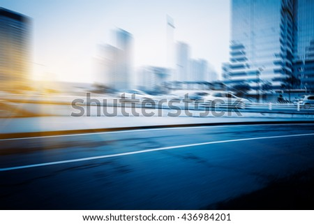 Blurred traffic in the downtown district,tianjin china.