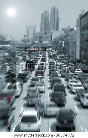 blurred traffic jam colored picture, photo taken in new york - stock photo
