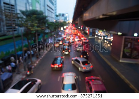 Blurred Traffic jam on a road in Bangkok
