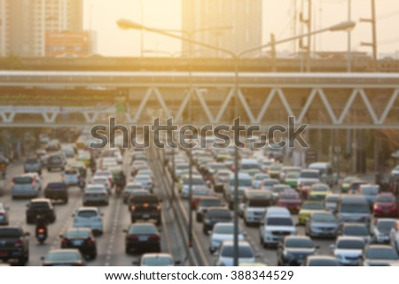 blurred traffic jam with light on  street in bangkok , Motion blur,thailand - stock photo